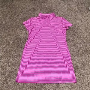 Pink striped summer collared dress